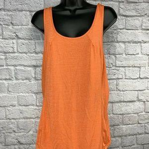 Lululemon TANK PLEATED Orange/Coral Striped Sz 10